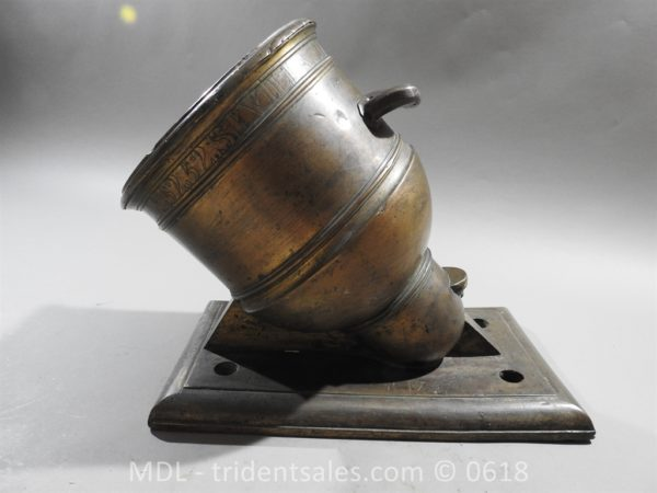 "P33851 600x450 Spanish Bronze 7 1/2"" Eprouvette Mortar Dated 1799"