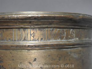 "P33861 300x225 Spanish Bronze 7 1/2"" Eprouvette Mortar Dated 1799"