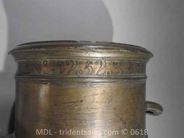 "P33863 600x450 Spanish Bronze 7 1/2"" Eprouvette Mortar Dated 1799"