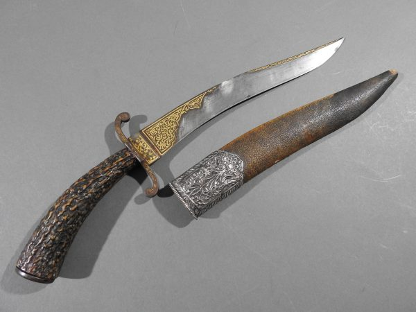DSCN9517 600x450 Bowie Hilted Khanjar with Etched Inscription