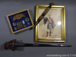 79th Highlanders Captain's Portrait, Medal, Sword and Dirk, etc