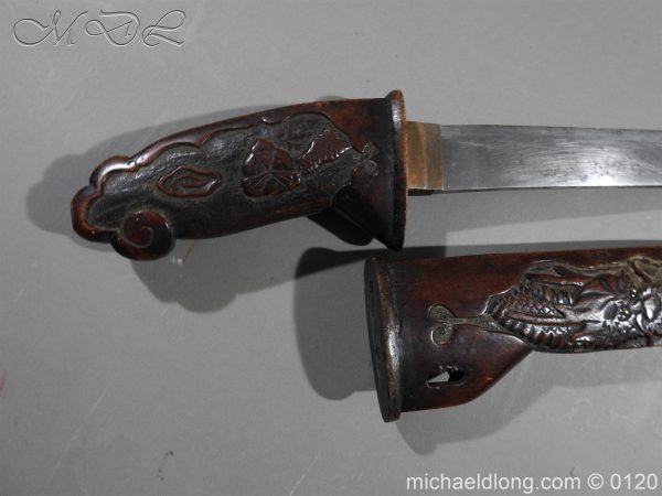 michaeldlong.com 6278 600x450 Japanese Tanto in Curved Wood Mounts