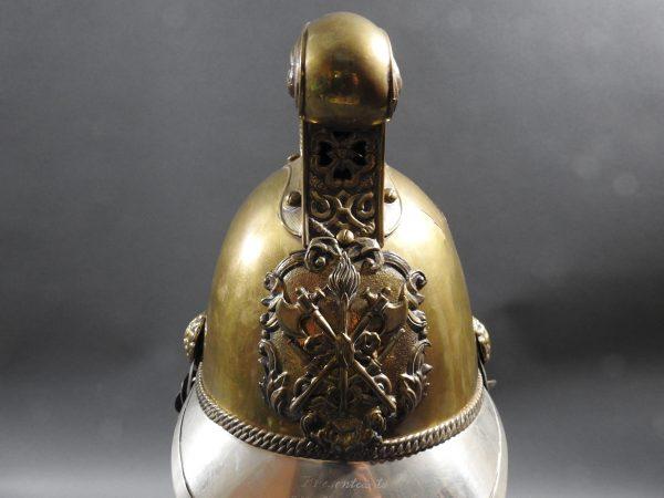 DSCN7226 600x450 British Presentation Fire Helmet dated 1889