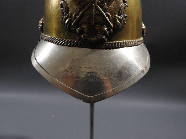 DSCN7227 600x450 British Presentation Fire Helmet dated 1889