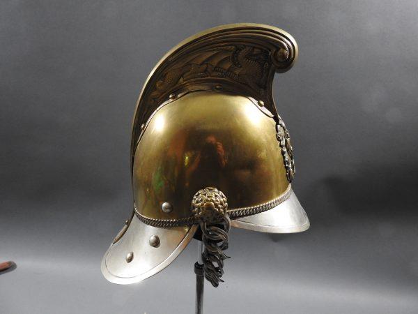 DSCN7229 600x450 British Presentation Fire Helmet dated 1889