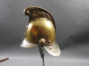 DSCN7232 300x225 British Presentation Fire Helmet dated 1889