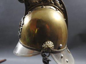 DSCN7233 300x225 British Presentation Fire Helmet dated 1889