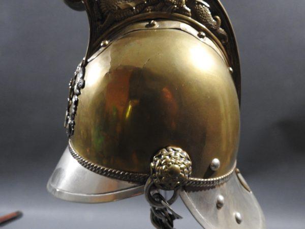 DSCN7233 600x450 British Presentation Fire Helmet dated 1889