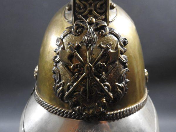 DSCN7235 600x450 British Presentation Fire Helmet dated 1889
