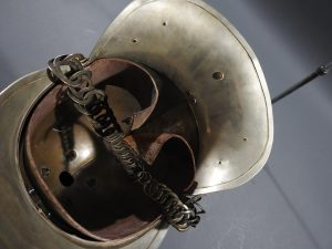 DSCN7236 300x225 British Presentation Fire Helmet dated 1889
