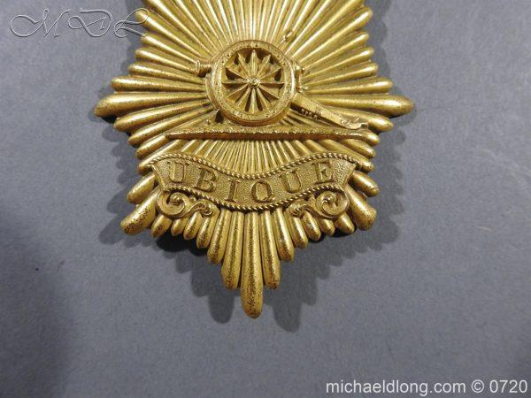 michaeldlong.com 10104 600x450 Royal Regiment of Artillery Victorian NCO's Bell Top Shako Plate
