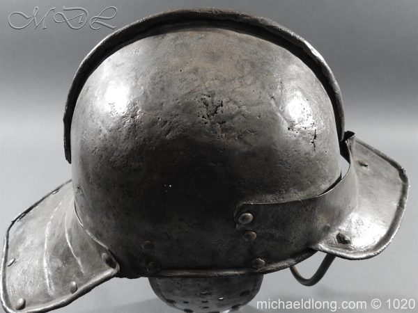 michaeldlong.com 12262 600x450 17th Century English Civil War Harquebusier's Lobster Tail Helmet