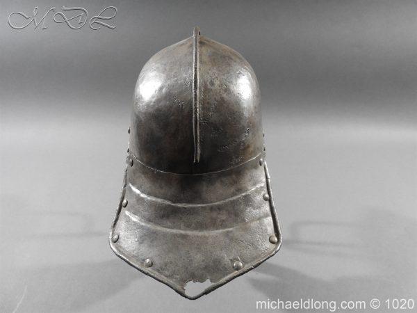 michaeldlong.com 12263 600x450 17th Century English Civil War Harquebusier's Lobster Tail Helmet