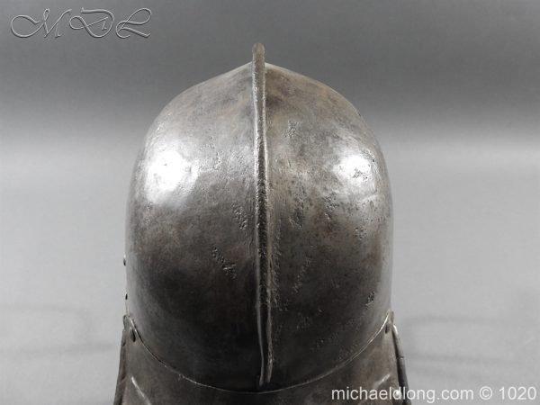 michaeldlong.com 12264 600x450 17th Century English Civil War Harquebusier's Lobster Tail Helmet