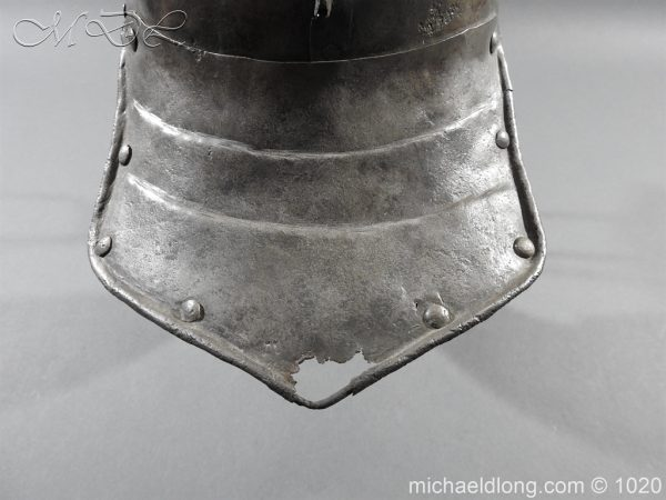 michaeldlong.com 12265 600x450 17th Century English Civil War Harquebusier's Lobster Tail Helmet