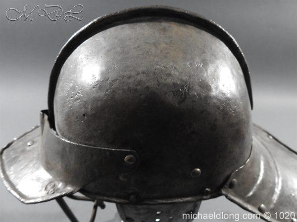 michaeldlong.com 12267 600x450 17th Century English Civil War Harquebusier's Lobster Tail Helmet