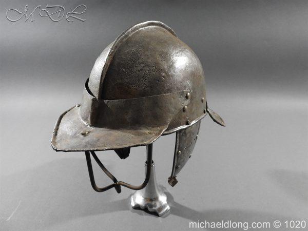 michaeldlong.com 12268 600x450 17th Century English Civil War Harquebusier's Lobster Tail Helmet