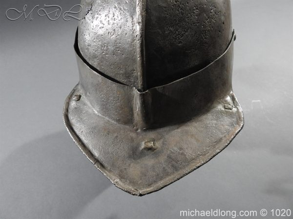 michaeldlong.com 12269 600x450 17th Century English Civil War Harquebusier's Lobster Tail Helmet