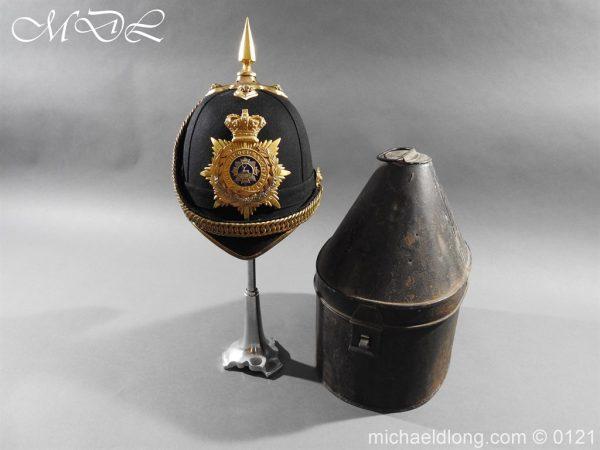 michaeldlong.com 15162 600x450 Victorian Bedfordshire Officer's Blue Cloth Helmet