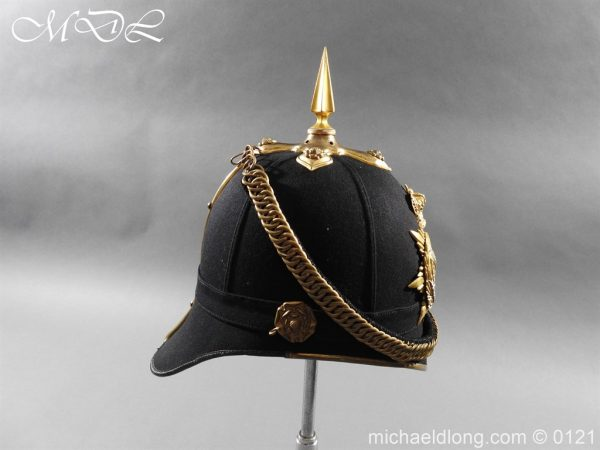 michaeldlong.com 15166 600x450 Victorian Bedfordshire Officer's Blue Cloth Helmet