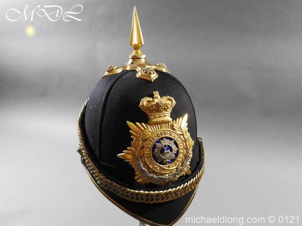 michaeldlong.com 15179 600x450 Victorian Bedfordshire Officer's Blue Cloth Helmet