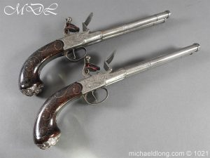 A Pair of 54 Bore Double Barrelled Flintlock Pistol by Grice 1778